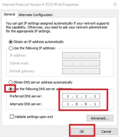 DNS Settting Windows 10