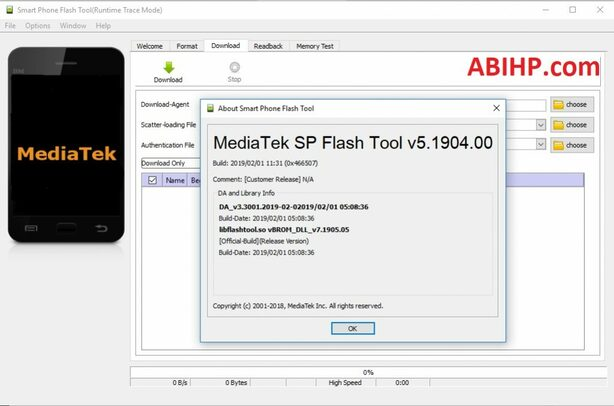 SP Flash Tool v5.1904.00